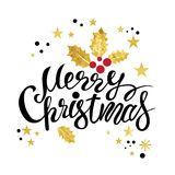 Merry Christmas lettering. With a Christmas gold decor for the holiday printing and web design, glittering stars and gold glitter Royalty Free Stock Images