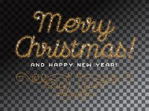 Merry Christmas lettering gold glitter font Royalty Free Stock Photo