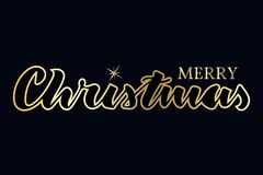 Merry christmas lettering. Gold texture. royalty free illustration