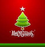 Merry Christmas lettering green tree. Background,  illustration Stock Photo
