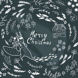 Merry Christmas lettering. Greeting card with christmas symbols Stock Photos
