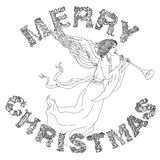 Merry christmas, lettering Greeting Card design. Vector doodle Merry Christmas en angel, lettering Greeting Card design.Vector illustration. Hand drawn line Royalty Free Stock Photography