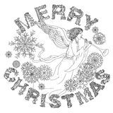 Merry christmas, lettering Greeting Card design. Vector doodle Merry Christmas en angel, lettering Greeting Card design.Vector illustration. Hand drawn line Stock Photography