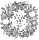 Merry christmas, lettering Greeting Card design. Vector doodle Merry Christmas, lettering Greeting Card design .Vector illustration. Hand drawn line illustration Royalty Free Stock Images