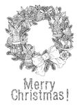 Merry christmas, lettering Greeting Card design. Vector doodle Merry Christmas, lettering Greeting Card design .Vector illustration. Hand drawn line illustration Royalty Free Stock Photography