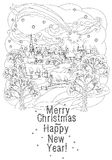 Merry christmas, lettering Greeting Card design. Vector doodle Merry Christmas, lettering Greeting Card design .Vector illustration. Hand drawn line illustration Stock Images