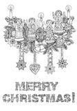 Merry christmas, lettering Greeting Card design. Vector doodle Merry Christmas, lettering Greeting Card design .Vector illustration. Hand drawn line illustration Stock Photography