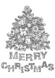 Merry christmas, lettering Greeting Card design. Vector doodle Merry Christmas, lettering Greeting Card design .Vector illustration. Hand drawn line illustration Stock Image