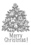 Merry christmas, lettering Greeting Card design. Vector doodle Merry Christmas, lettering Greeting Card design .Vector illustration. Hand drawn line illustration Stock Photos
