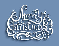 Merry Christmas lettering, greeting card Stock Images