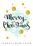 Merry Christmas lettering greeting card Stock Images