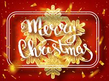 Merry Christmas lettering greeting card for holiday. Gold Shining. Decoration ornament with with snowflake pattern. Golden confett. I falls. Calligraphy royalty free stock images