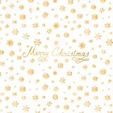 Merry Christmas lettering greeting card. Snow pattern with golden snowflakes. Merry Christmas greeting card design. Snow pattern with golden snowflakes. Happy stock image
