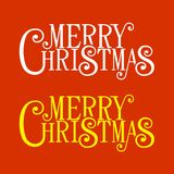 Merry Christmas Lettering for Greeting Card. Stock Photo