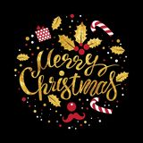 Merry Christmas lettering. Lettering hand-written merry Christmas on a black background. For invitations, posters, registration of pages in social networks Royalty Free Stock Photos