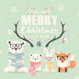 Merry Christmas lettering with hipster polar bears, fox and rabbit Stock Photography