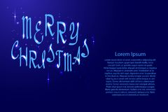 Merry Christmas lettering, holiday calligraphy with luminescence Stock Images
