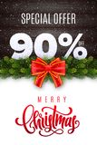 Merry Christmas lettering. Holiday sale 90 percent off. Numbers of snow on wood background with fir garland and red bow. Limited time only. Special offer stock illustration
