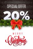 Merry Christmas lettering. Holiday sale 20 percent off. Numbers of snow on wood background with fir garland and red bow. Limited time only. Special offer royalty free illustration