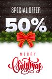 Merry Christmas lettering. Holiday sale 50 percent off. Numbers of snow on wood background with fir garland and red bow. Limited time only. Special offer stock illustration