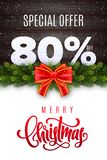 Merry Christmas lettering. Holiday sale 80 percent off. Numbers of snow on wood background with fir garland and red bow. Limited time only. Special offer royalty free illustration
