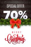 Merry Christmas lettering. Holiday sale 70 percent off. Numbers of snow on wood background with fir garland and red bow. Limited time only. Special offer royalty free illustration