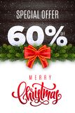 Merry Christmas lettering. Holiday sale 60 percent off. Numbers of snow on wood background with fir garland and red bow. Limited time only. Special offer vector illustration