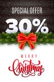 Merry Christmas lettering. Holiday sale 30 percent off. Numbers of snow on wood background with fir garland and red bow. Limited time only. Special offer royalty free illustration