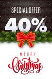 Merry Christmas lettering. Holiday sale 40 percent off. Numbers of snow on wood background with fir garland and red bow. Limited time only. Special offer vector illustration