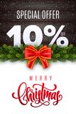 Merry Christmas lettering. Holiday sale 10 percent off. Numbers of snow on wood background with fir garland and red bow. Limited time only. Special offer royalty free illustration