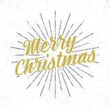 Merry Christmas lettering. Holiday typography Vector Illustration. Letters composition with sun bursts and halftone Royalty Free Stock Photography