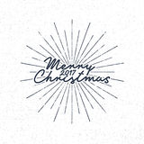 Merry Christmas 2017 lettering. Holiday typography Vector Illustration. Letters composition with sun bursts. New year Stock Images