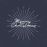 Merry Christmas 2017 lettering. Holiday typography Vector Illustration. Letters composition with sun bursts. New year. Style. Use as photo overlay, place to Stock Photography