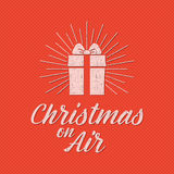 Merry Christmas lettering. Holiday typography Vector. Letters composition with sun bursts and halftone texture Stock Photos