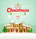 Merry Christmas lettering with houses snow background Royalty Free Stock Photos