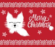 Merry Christmas lettering inscription. Fur cute winter character white hand drawn fluffy isolated on red background royalty free illustration