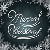 Merry Christmas lettering logo design. On a blurred background with snowflakes. Vector illustration Stock Photography