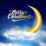 Vector merry christmas magic night sky with cloud royalty free illustration