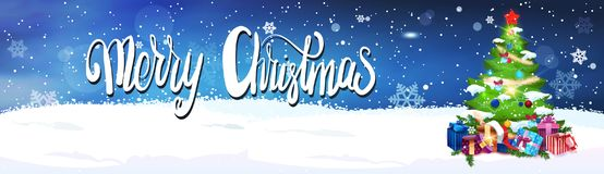 Merry Christmas Lettering Over Night Sky Background With Decorated Fir Tree Horizontal Banner. Flat Vector Illustration Stock Photography