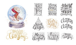 Merry christmas lettering over with snowflakes and bear. Hand dr Royalty Free Stock Photos