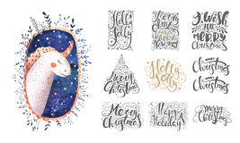 Merry christmas lettering over with snowflakes and bear. Hand dr. Merry christmas lettering over with snowflakes and unicorn. Hand drawn text, calligraphy for Stock Photo