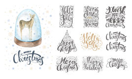 Merry christmas lettering over with snowflakes and deer. Hand dr Stock Images