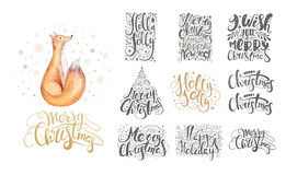 Merry christmas lettering over with snowflakes and foxes. Hand d. Rawn text, calligraphy for your design. xmas fox design overlay elements isolated on white Vector Illustration