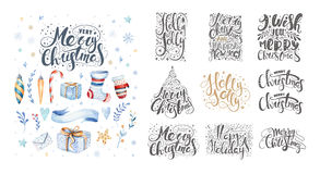 Merry christmas lettering over with snowflakes. Hand drawn text,. Calligraphy for your design. xmas design overlay elements isolated on white background Stock Photography
