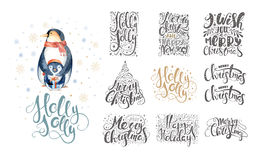 Merry christmas lettering over with snowflakes and penguins. Han Royalty Free Stock Photo
