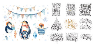 Merry christmas lettering over with snowflakes and penguins. Han Stock Photos