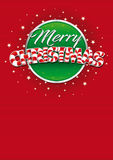 Merry Christmas lettering. Red cover of greeting card with lines texture in background. Layout size: 21 cm x 29.7 cm. A4 size. Lettering design. Vector image Royalty Free Stock Photography