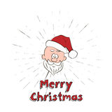 Merry Christmas lettering and Santa Claus Head with vintage sun burst frame Stock Photos