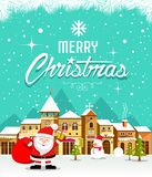 Merry Christmas lettering with Santa Claus and houses snow vector illustration