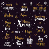 Merry Christmas Lettering Set Stock Photos
